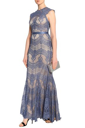 CATHERINE DEANE Idella satin-trimmed ruffled corded lace gown