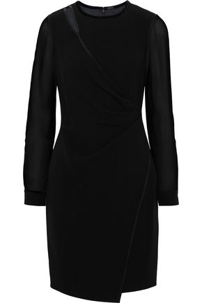 ELIE TAHARI Wrap-effect chiffon-paneled crepe mini dress