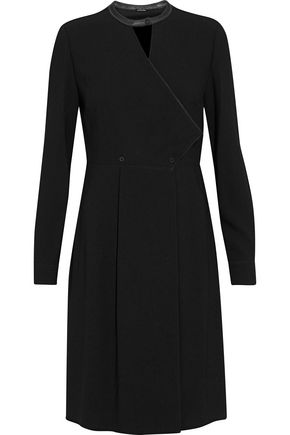 ELIE TAHARI Leather-trimmed cutout crepe dress