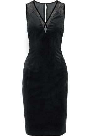 ELIE TAHARI Mikaya metallic mesh-paneled appliquéd velvet dress