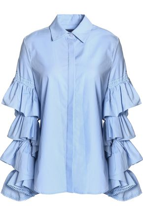 PREEN by THORNTON BREGAZZI Ophelia ruffled cotton-poplin shirt
