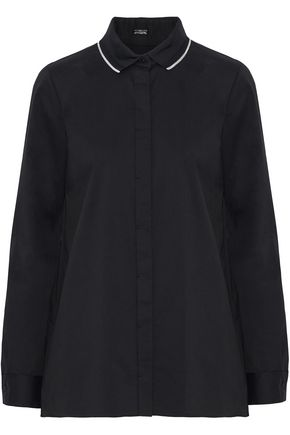 ELIE TAHARI Needra piqué-trimmed cotton-blend poplin shirt