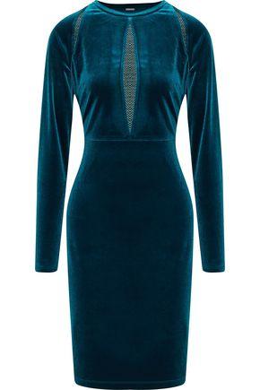 ELIE TAHARI Metallic mesh-paneled velvet dress