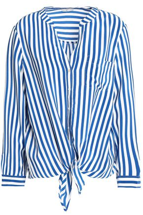 JOIE Edaline knotted striped silk shirt