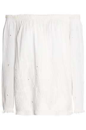 JOIE Off-the-shoulder embroidered cotton top