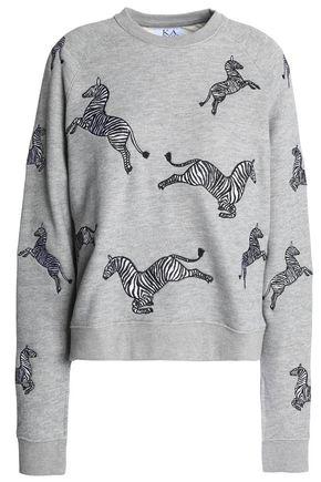 ZOE KARSSEN Appliquéd cotton-blend terry sweatshirt