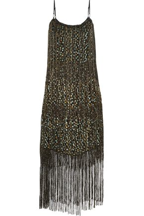 ELIE TAHARI Pacey fringed metallic flocked chiffon midi dress