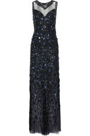 ELIE TAHARI Augenie embellished tulle gown