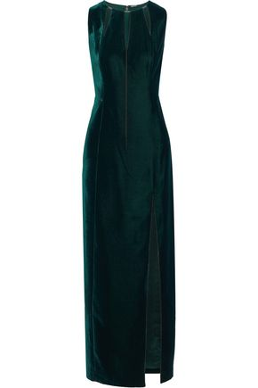 ELIE TAHARI Jemra chain-embellished cutout velvet maxi dress