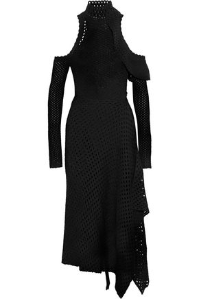 PROENZA SCHOULER Cold-shoulder open-knit midi dress
