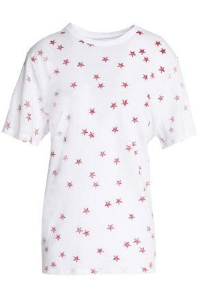 ZOE KARSSEN Printed cotton and linen-blend jersey T-shirt