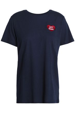 ZOE KARSSEN Embroidered cotton and modal-blend jersey T-shirt