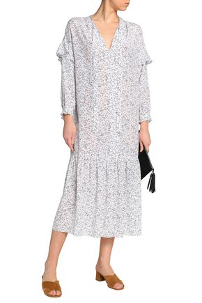 M.I.H JEANS Erika pussy-bow floral-print silk midi dress