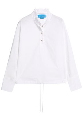 M.I.H JEANS Draw ruffle-trimmed cotton-poplin shirt