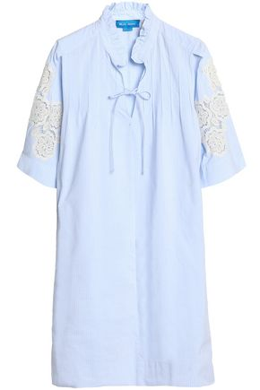 M.I.H JEANS Langley crochet-trimmed pinstriped cotton-poplin shirt dress