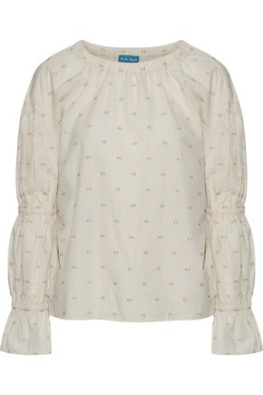 M.I.H JEANS Bubble metallic fil coupé cotton-blend jacquard blouse