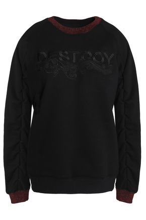 ZOE KARSSEN Metallic-trimmed embroidered terry sweatshirt