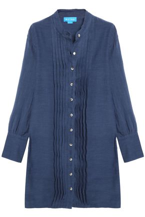 M.I.H JEANS Sunbeam pintucked linen and cotton-blend shirt dress