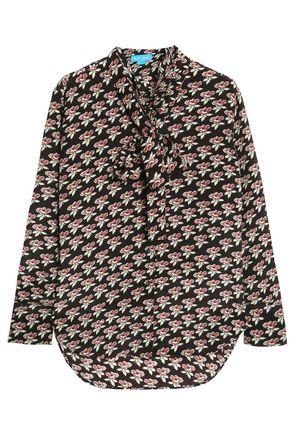 M.I.H JEANS Pussy-bow floral-print silk crepe de chine blouse