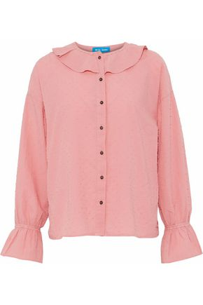 M.I.H JEANS Ruffle-trimmed fil coupé cotton blouse