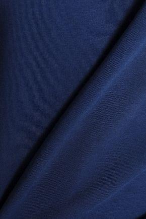 ZOE KARSSEN Ruched printed cotton-blend terry sweatshirt
