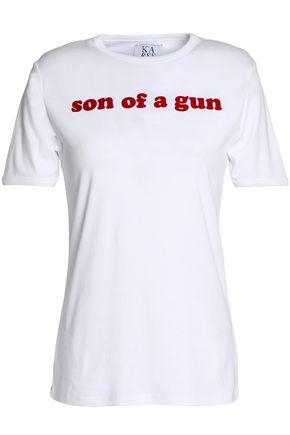 ZOE KARSSEN Flocked cotton-jersey T-shirt