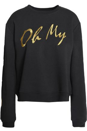 ZOE KARSSEN Metallic embroidered cotton-blend terry sweatshirt