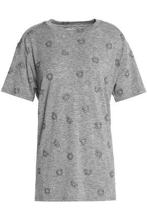 ZOE KARSSEN Printed glittered Tencel-blend jersey T-shirt