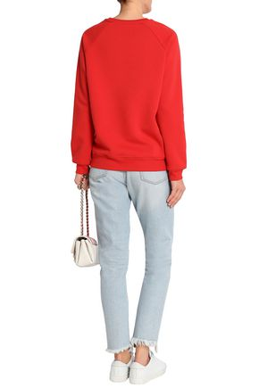 ZOE KARSSEN Printed cotton-blend terry sweatshirt