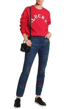 ZOE KARSSEN Ruched printed cotton-blend terry sweatshirt