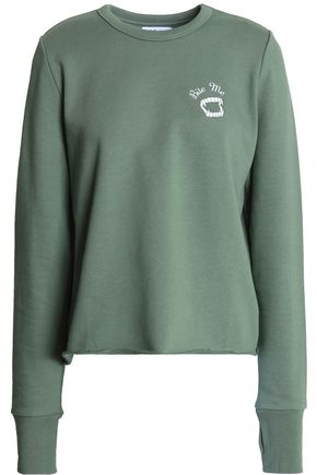 ZOE KARSSEN Embroidered cotton-terry sweatshirt