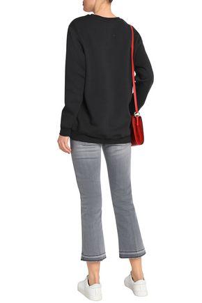 ZOE KARSSEN Flocked mélange cotton-blend terry sweatshirt