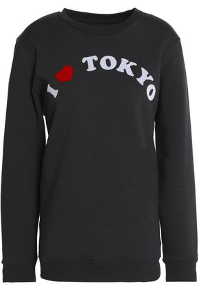 ZOE KARSSEN Flocked cotton-blend terry sweatshirt
