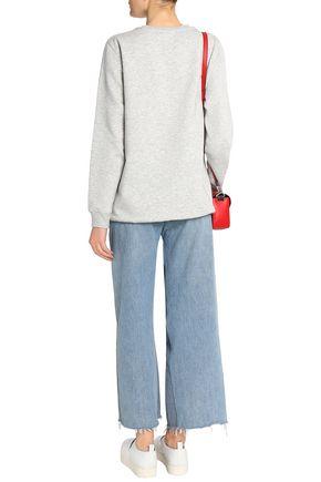 ZOE KARSSEN Flocked cotton-blend terry sweatshirt