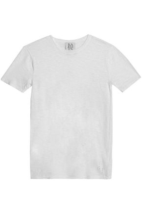 ZOE KARSSEN Distressed slub cotton-jersey T-shirt