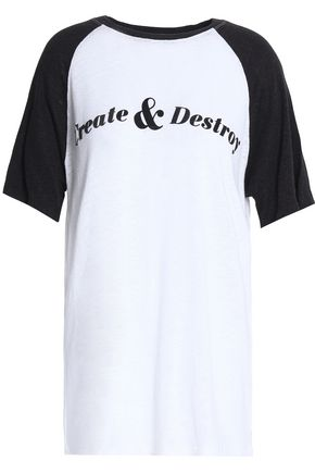 ZOE KARSSEN Printed slub linen-blend jersey T-shirt