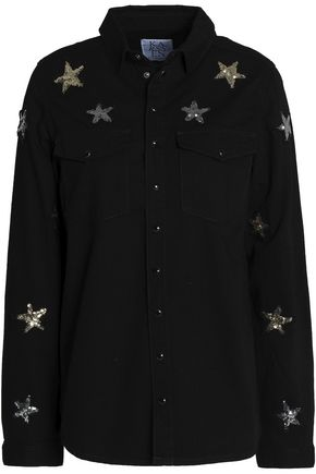 ZOE KARSSEN Sequin-embellished denim shirt