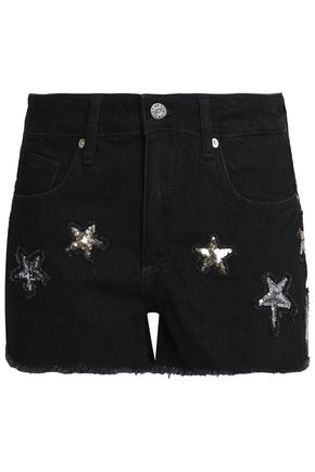 ZOE KARSSEN Sequin-embellished denim shorts