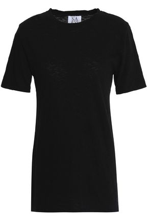 ZOE KARSSEN Distressed slub cotton-jersey T-shirt