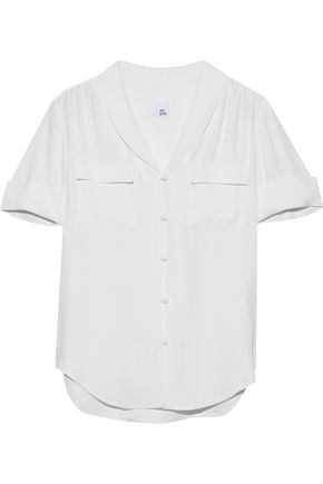 IRIS & INK Tilda gathered crepe shirt