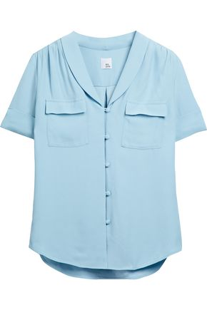 IRIS & INK Tilda gathered crepe shirt