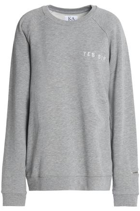 ZOE KARSSEN Embroidered cotton-blend terry sweatshirt
