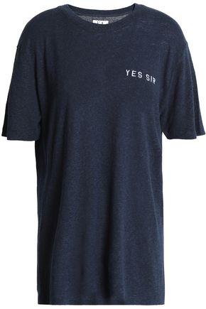 ZOE KARSSEN Embroidered slub linen-blend jersey T-shirt