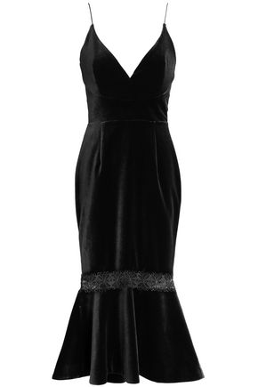 NICHOLAS Fluted lace-trimmed velvet midi dress