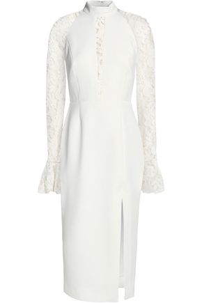NICHOLAS Lace-paneled crepe midi dress