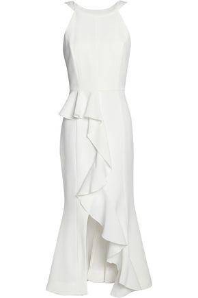 NICHOLAS Split-front ruffled crepe midi dress