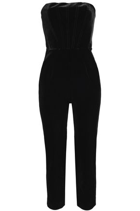 a2ed38eee6 NICHOLAS Strapless cropped velvet jumpsuit ...