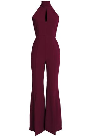 NICHOLAS Open-back cutout crepe jumpsuit