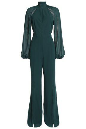 NICHOLAS Chiffon-paneled silk crepe de chine halterneck jumpsuit
