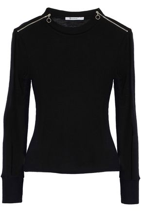 T by ALEXANDER WANG Zip-detailed ribbed wool top